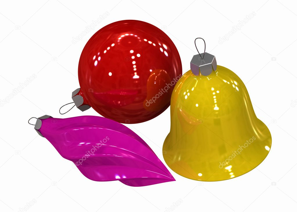 Three-dimensional model - multi-coloured Christmas toys on a white background. — Foto de Stock   #1191577