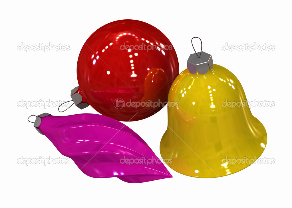 Three-dimensional model - multi-coloured Christmas toys on a white background. — Stockfoto #1191577