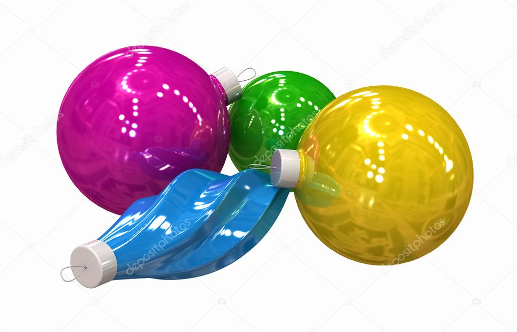 Three-dimensional model - multi-coloured Christmas toys on a white background. — Zdjęcie stockowe #1191598