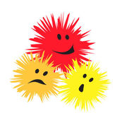 Three cheerful monsters — Stock Vector