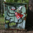 Drawing on a garbage can — Stock Photo