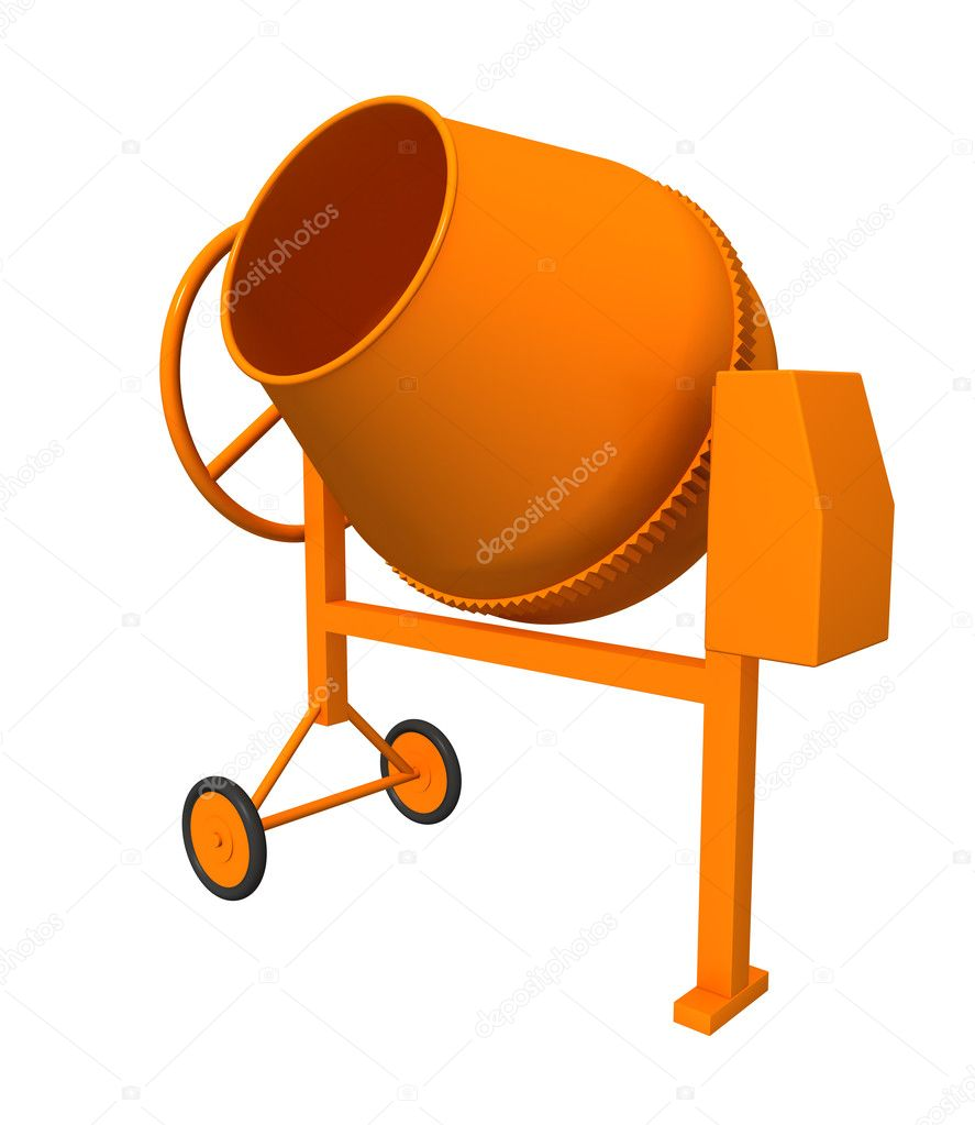 Three-dimensional model - a concrete mixer. Model simplified. — Stock Photo #1207679
