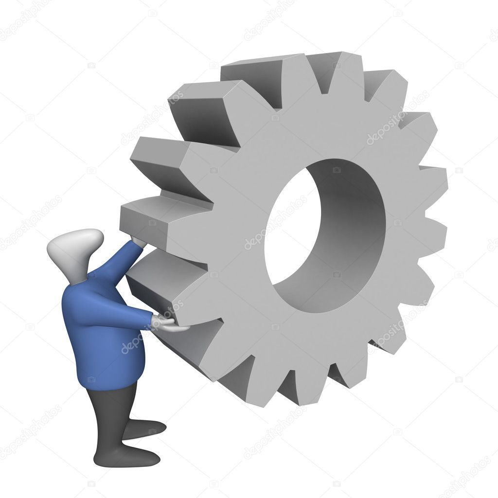 Three-dimensional image - a man turns a huge cog. — Stock Photo #1225073