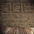 Old grunge interior with blank frames - Stock Photo