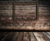 Interior de madeira com moldura — Fotografia Stock