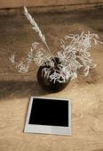 Vintage photo and ikebana on table — Stock Photo