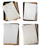 Set of old folders with stack of papers — Stock Photo