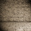 Old interior, brick wall - Stock Photo