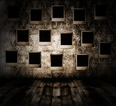 Old room with photos — Stock Photo