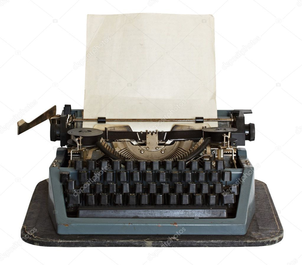 Vintage typewriter with paper isolated on white background — Stock Photo #2414608