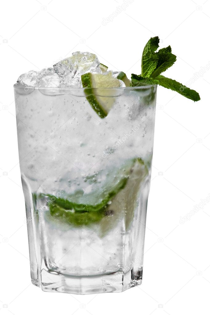 A close-up of leaves of mint, ice cubes and slices of lime in a glass of transparent alcohol (mojito) isolated on white background — Stock Photo #1174154