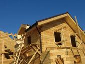 Oprichting van een houten huis — Stockfoto