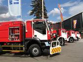 Line of fire trucks — Stock Photo