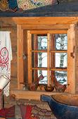 Window in old russian izba. — Stock Photo