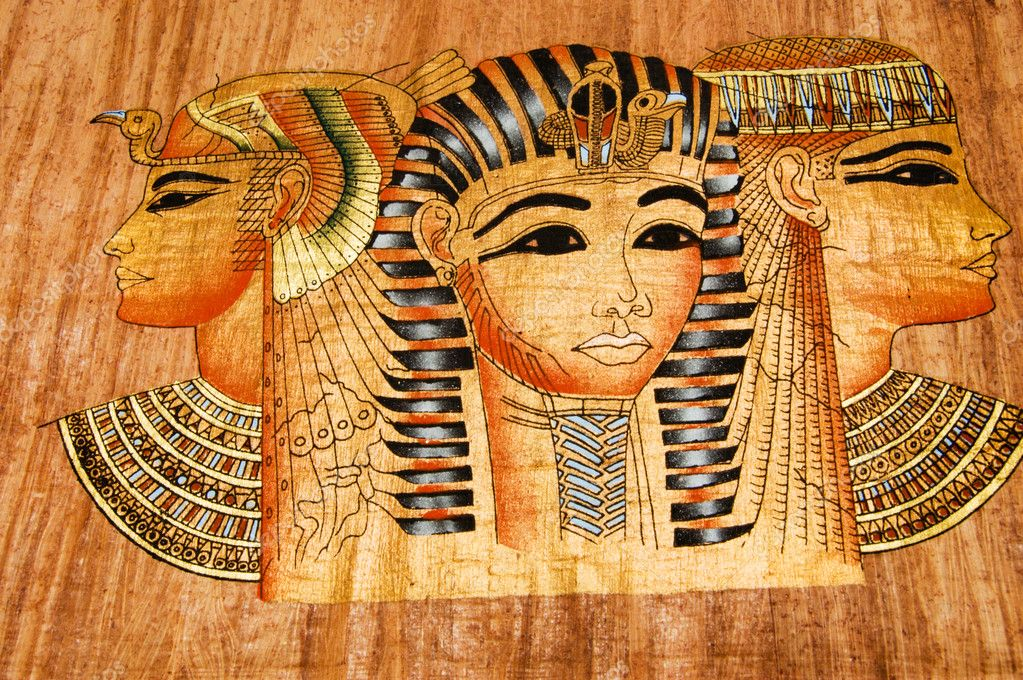 Copy of the ancient papyrus of Egypt with Cleopatra and retinue — Stock Photo #2058117