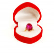 Gold ring with ruby stone in box — Stock Photo #2309542