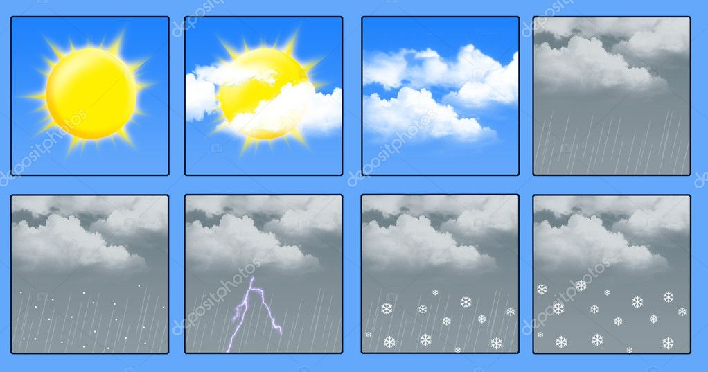 A set of icons for weather forecast. an illustration — Stock Photo #2625895