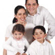 Foto Stock: Happy parents and children little ten