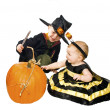 A boy dressed as a magician and a girl — Stock Photo