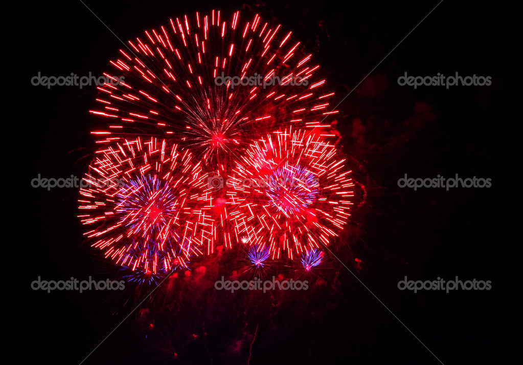 Colorful fireworks over black night in a variety of colors — Stock Photo #1384204