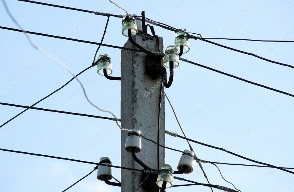 Service column of telephone lines and power cables  Stock Photo #1384241