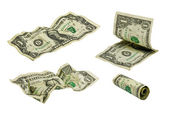Crumpled one dollar banknotes #1 — Stock Photo
