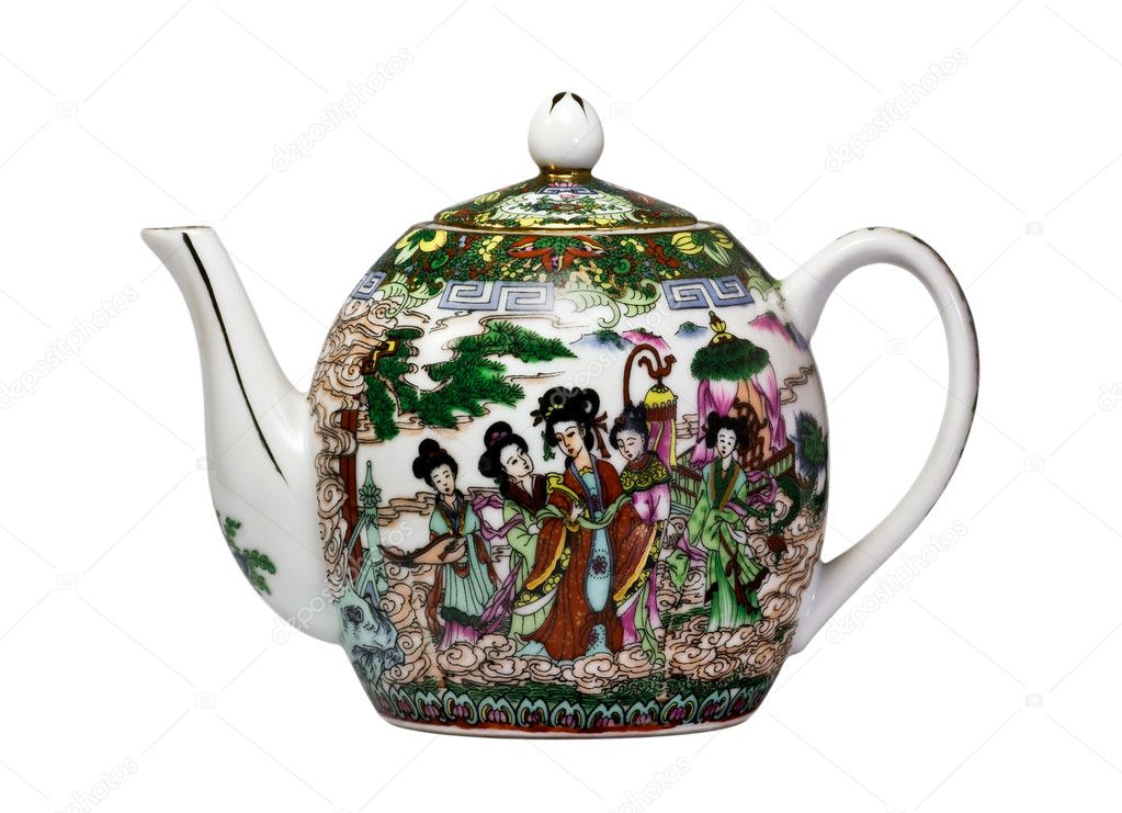 The Chinese teapot with the hand-made drawing  — Stok fotoğraf #1496985