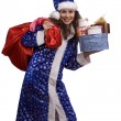 santa woman is holding red sack with gif — Stock Photo