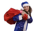Santa woman is holding red sack with gif — Stock fotografie