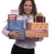 Woman holding gift box for Christmas — Stock Photo