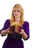 Woman with gift — Stock fotografie