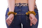 Sexleksak. flicka med handbojor. — Stockfoto