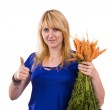 Woman with carrot — Stock Photo