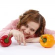Woman with sweet peppers. — Stock Photo