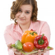 Beautiful young woman with fresh vegetab — Stock Photo