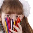 Girl with color pencils. — Stock fotografie