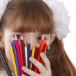 Stock Photo: Girl with color pencils.
