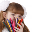 girl with color pencils — Stock Photo