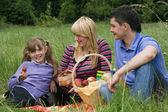 Familie met picknick in het park — Stockfoto