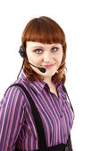 Beautiful Customer Representative girl w — Stock Photo