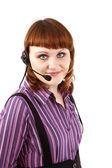Mooie klant vertegenwoordiger meisje w — Stockfoto