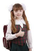 Lachende school meisje. onderwijs. ok teken. — Stockfoto