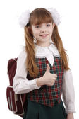 Smiling school girl. Education. OK sign. — Stockfoto