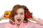 Woman is looking surprised with sweet pe — Foto Stock