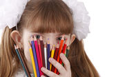 Girl with color pencils. — Stock Photo