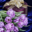Gift. Light violet tulips purple box — Stok fotoğraf