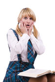 Schoolgirl is shocked by exams — Stok fotoğraf