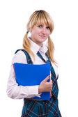 Senior high schoolgirl in uniform with f — Stock Photo