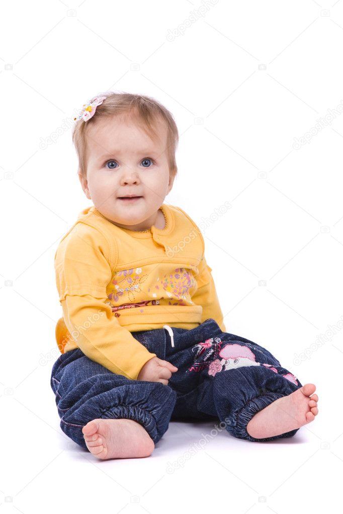 Baby Is Sitting On The Floor Stock Photo Irkusnya 1208970