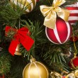 Fragment of Christmas tree decorated — Foto de Stock
